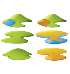 Different shapes of mountains and beaches vector