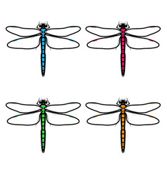 dragonflies logos symbols icons signs set vector image