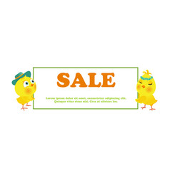 easter sale poster with funny chick vector image