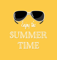 Enjoy summer time text with sunglasses vector