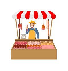 Farmer selling meat products vector