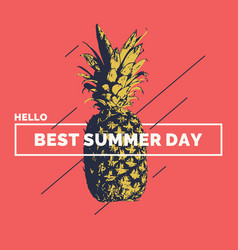 fashionable modern poster with pineapple hello vector image