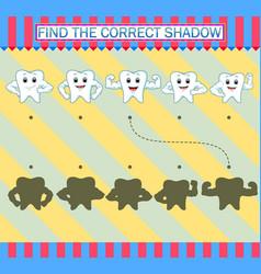 Find correct shadow cartoon cute tooth vector