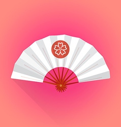 flat style white color japanese style hand fan vector image vector image