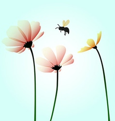 Flowers with flying bee vector