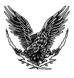flying eagle - dot work tattoo style1 vector image