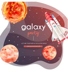 Galaxy social media design with sun venus rocket vector