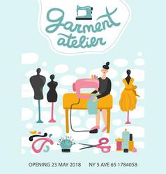 garment atelier advertising poster vector image