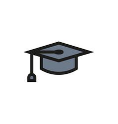 Graduation cap symbol icon on white background vector