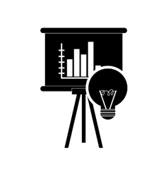 Graph chart and regular lightbulb icon vector