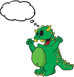 green monster with thought bubble vector image
