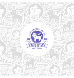 Hairdresser for dog label and frame with pattern vector
