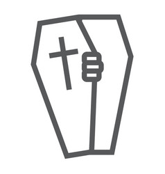 Halloween coffin line icon death and funeral vector