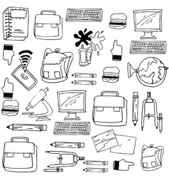 Hand draw school for kids doodles vector