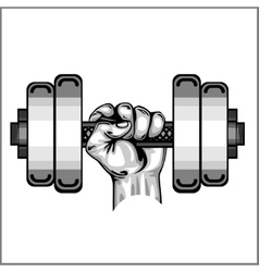 Heavy dumbbell in hand isolated vector