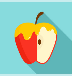 Honey on red apple icon flat style vector