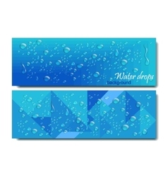 Horizontal Banners Set with Water Drops vector image