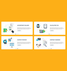 Internet banner set accountancy tax and vector