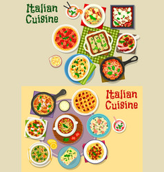 Italian cuisine pasta dishes icon set design vector