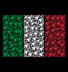 italy flag mosaic of space rocket launch icons vector image