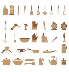 kitchen utensils set 36 different icons vector image