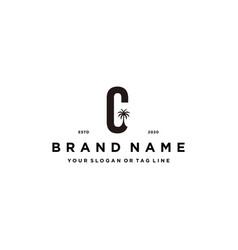 Letter c palm logo design concept vector