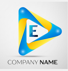 Letter e symbol in the colorful triangle vector