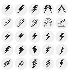 lightning icon set on circles background for vector image