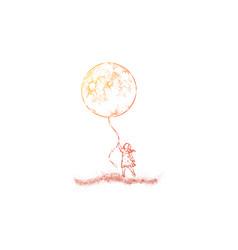 Little girl in dress holding huge moon balloon vector