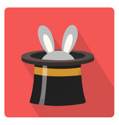 magician hat with a rabbit icon flat style with vector image