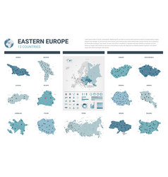 Maps set high detailed 13 maps of eastern europe vector