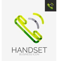 Minimal line design logo phone handset icon vector image