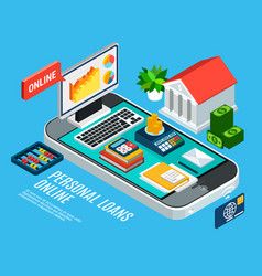 Mobile loans isometric concept vector