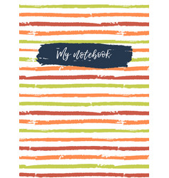 Notebook cover template striped background vector
