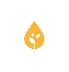 oil drop leaf sprout logo icon vector image