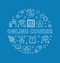 online course concept round outline vector image