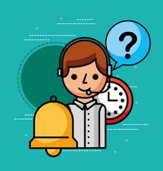 operator clock support customer service vector image
