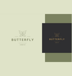 outline butterfly label for beauty vector image