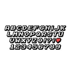 Pixel font 8 and 16 bit vintage style vector