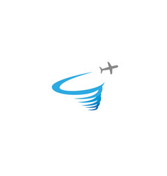 plane flying and making a round storm logo vector image