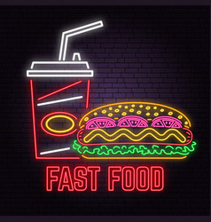 retro neon hot dog and cola sign on brick wall vector image