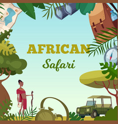Safari frame african tour travel concept for vector