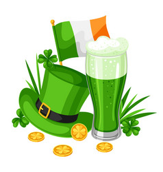 saint patricks day beer hat and vector image