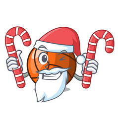 Santa with candy volleyball mascot cartoon style vector