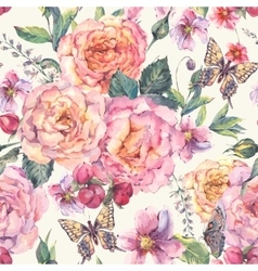 Seamless background with roses and butterfly vector
