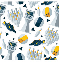 seamless pattern with bowling objects vector image