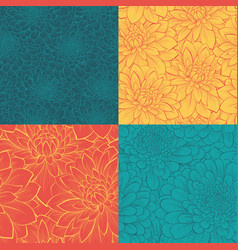 set beautiful seamless pattern with flowers vector image