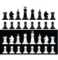 set chess pieces icons vector image