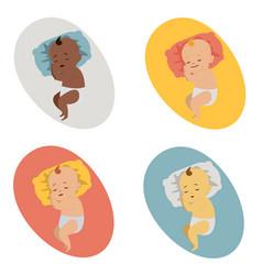 set of baby sleeping vector image