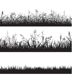 Set of grass seamless borders black silhouette of vector